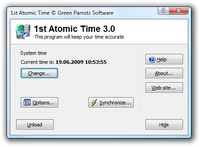 1st Atomic Time main window. You can access all program functions from this window. Click to enlarge...