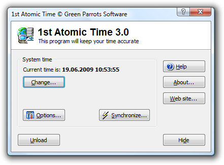 1st Atomic Time main window. You can access all program functions from this window.