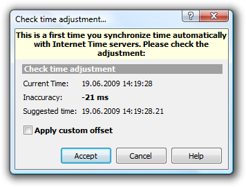 First-time auto-synchronization warning.