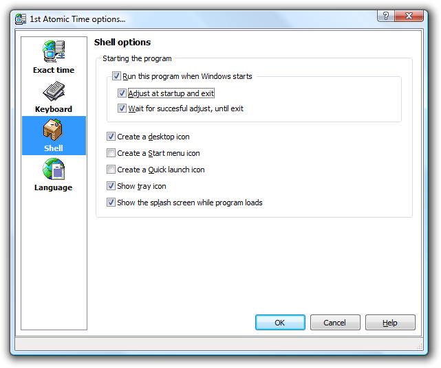 Options dialog, shell section, auto-synchronization at startup is configured
